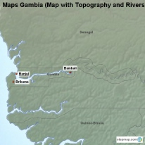 Maps Gambia (Map with Topography and Rivers)