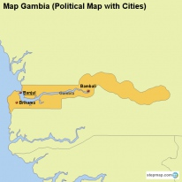 Map Gambia (Political Map with Cities)