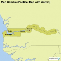 Map Gambia (Political Map with Waters)