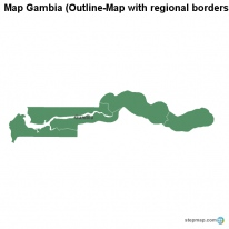 Map Gambia (Outline-Map with regional borders)