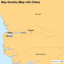 Map Gambia (Map with Cities)
