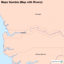 Maps Gambia (Map with Rivers)