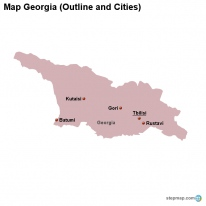 Map Georgia (Outline and Cities)