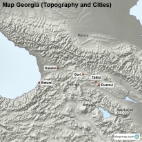 Map Georgia (Topography and Cities)