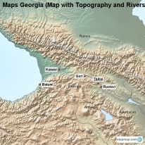Maps Georgia (Map with Topography and Rivers)