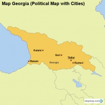 Map Georgia (Political Map with Cities)