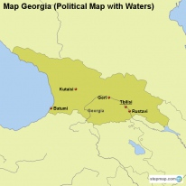 Map Georgia (Political Map with Waters)