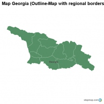 Map Georgia (Outline-Map with regional borders)