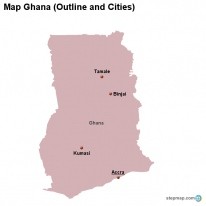 Map Ghana (Outline and Cities)