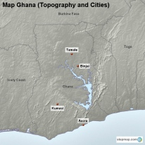 Map Ghana (Topography and Cities)