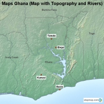 Maps Ghana (Map with Topography and Rivers)