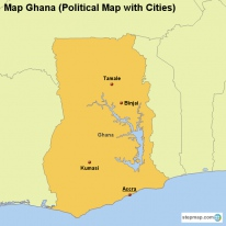 Map Ghana (Political Map with Cities)