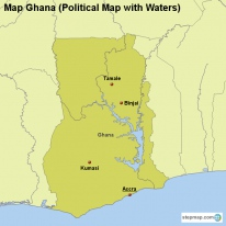 Map Ghana (Political Map with Waters)