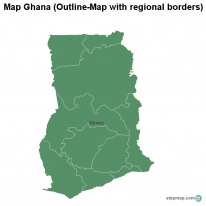 Map Ghana (Outline-Map with regional borders)