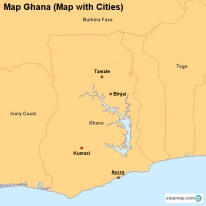 Map Ghana (Map with Cities)