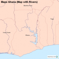Maps Ghana (Map with Rivers)