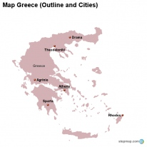 Map Greece (Outline and Cities)