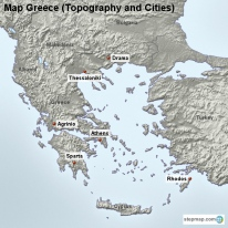 Map Greece (Topography and Cities)