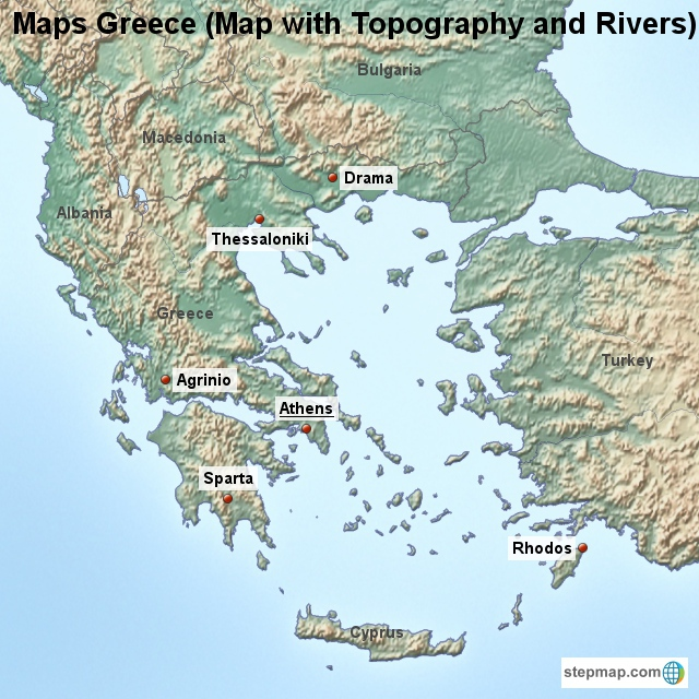 Topographical Map Of Greece   CYNDIIMENNA