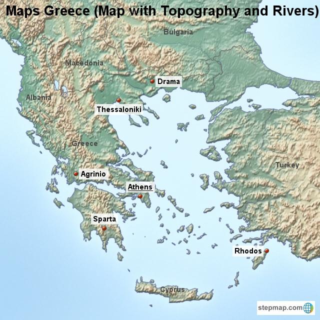 Topographical Map Of Greece   CYNDIIMENNA