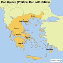 Map Greece (Political Map with Cities)