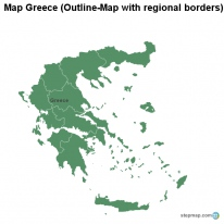 Map Greece (Outline-Map with regional borders)