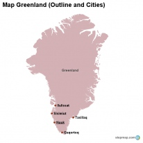 Map Greenland (Outline and Cities)
