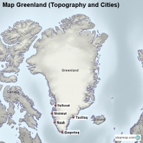 Map Greenland (Topography and Cities)