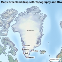Maps Greenland (Map with Topography and Rivers)