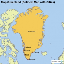 Map Greenland (Political Map with Cities)