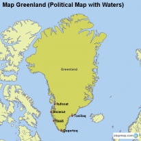 Map Greenland (Political Map with Waters)