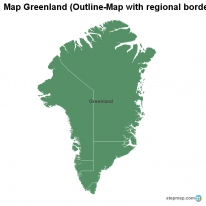 Map Greenland (Outline-Map with regional borders)
