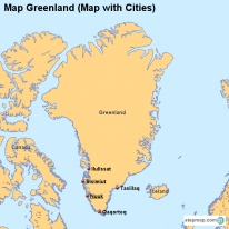 Map Greenland (Map with Cities)