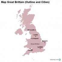 map great britain outline and cities