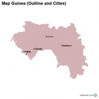 Map Guinea (Outline and Cities)