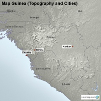 Map Guinea (Topography and Cities)