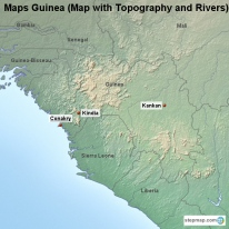 Maps Guinea (Map with Topography and Rivers)