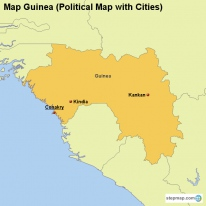Map Guinea (Political Map with Cities)
