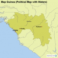 Map Guinea (Political Map with Waters)