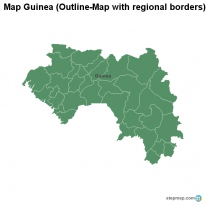 Map Guinea (Outline-Map with regional borders)