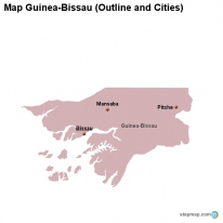 Map Guinea-Bissau (Outline and Cities)