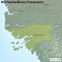 Map Guinea-Bissau (Topography)