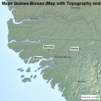 Maps Guinea-Bissau (Map with Topography and Rivers)