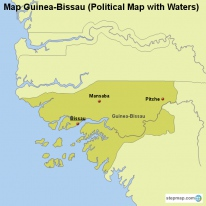 Map Guinea-Bissau (Political Map with Waters)