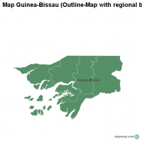 Map Guinea-Bissau (Outline-Map with regional borders)