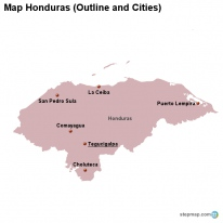 Map Honduras (Outline and Cities)