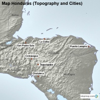 Map Honduras (Topography and Cities)