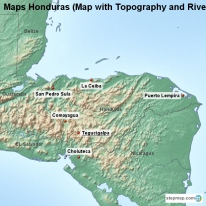 Maps Honduras (Map with Topography and Rivers)
