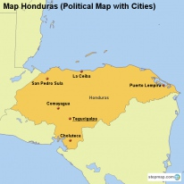 Map Honduras (Political Map with Cities)
