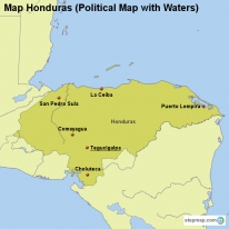 Map Honduras (Political Map with Waters)